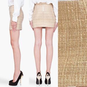 """Alice + Olivia """"Leslie"""" Gold Tweed Mini Skirt"""